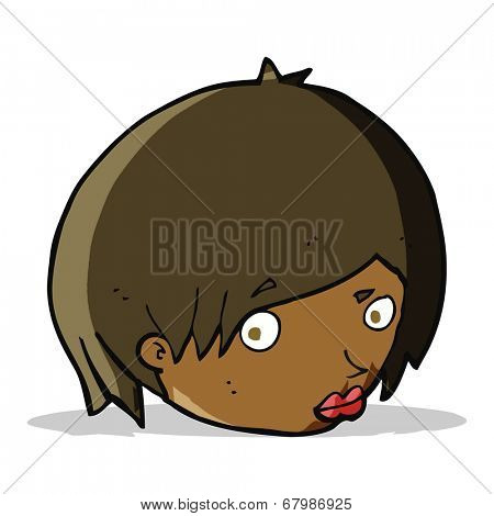 cartoon female face with raised eyebrow