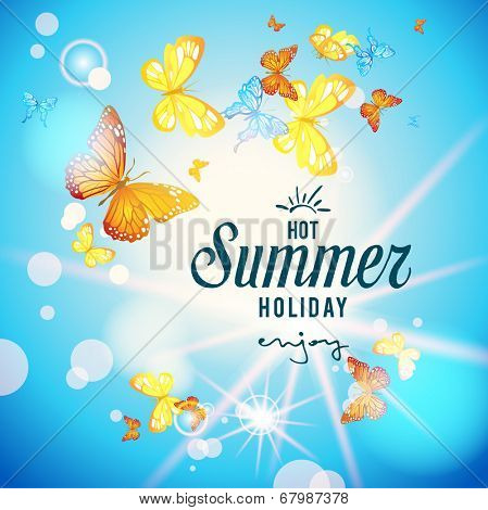 Blue sky and butterflies on summer background. Copy space