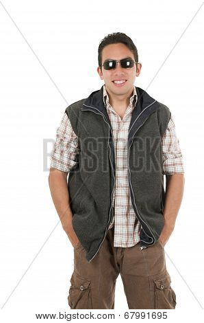young man posing wearing sunglasses and vest