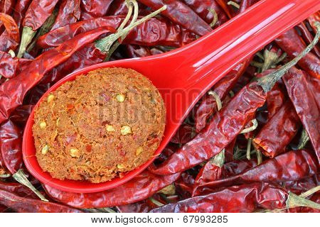 A spoon of Thai Curry Paste to make spicy curries on dried chilies