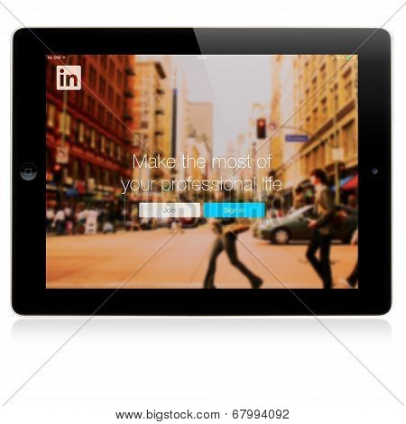 LinkedIn Login page on Apple iPad screen