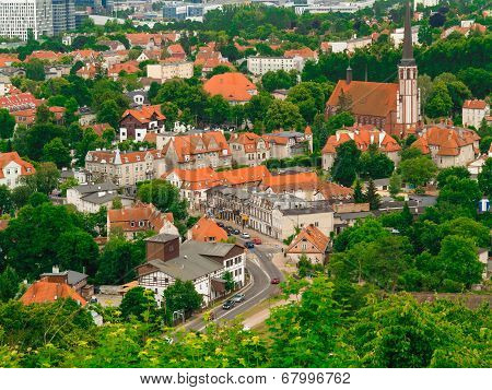 Aerial View From Tower Of District Gdansk Buildings. Urban