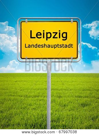 An image of the city sign of Leipzig