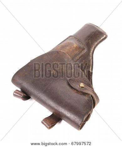 Old brown leather holster.