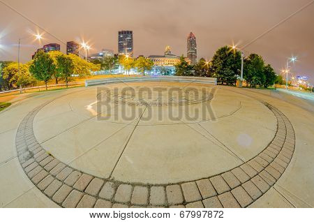 Cleveland Downtown On Cloudy Day