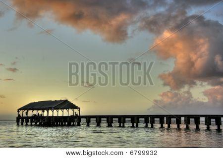 Hanalei Pier At Dusk.Kauai, Hawaii.