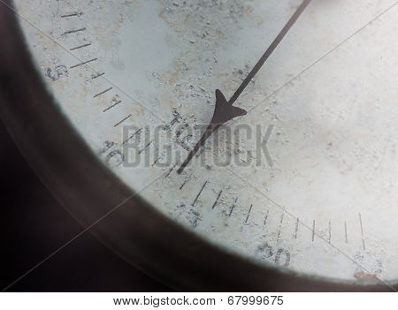 Meter Needle Of Old Barometer Closeup