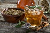 stock photo of refreshing  - Homemade and healthy refreshing iced mint tea