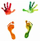 stock photo of footprint  - watercolor colorful handprint and footprint - JPG