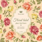 stock photo of rose  - Luxurious retro style floral greeting card  - JPG