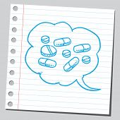 picture of bubble sheet  - Pills in comic bubble - JPG