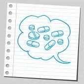 pic of bubble sheet  - Pills in comic bubble - JPG
