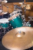 picture of drum-kit  - Closeup take of a a shiny drum kit - JPG