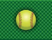 picture of softball  - An illustration of a softball on a green checkered background - JPG