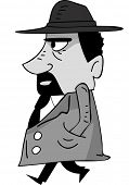 picture of mafia  - Side View Illustration of a Mafia Member Walking - JPG