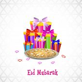 picture of eid festival celebration  - Muslim community festival Eid Mubarak celebrations background with colorful gift boxes and sweets on grey background - JPG