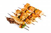 stock photo of kebab  - Tasty grilled meat on a white background - JPG