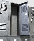 image of combination lock  - A perspective view of a stack of grey metal school lockers with combination locks and one with an open door on an isolated background - JPG