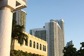 image of highrises  - Hotels and condo highrise buildings overlooking Biscayne Bay in Miami Florida - JPG