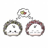 picture of kawaii  - love hedgehogs kawaii style on a white background - JPG
