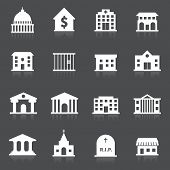 stock photo of school building  - Government building icons set of hospital fire station cemetery isolated vector illustration - JPG