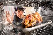 pic of angry bird  - Funny Housewife overlooked roast chicken in the oven - JPG