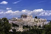 pic of parthenon  - Parthenon Acropolis Athens Greece day time with cloudy sky - JPG
