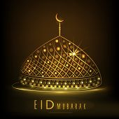 foto of eid mubarak  - Shiny golden mosque on brown background for Muslim community festival Eid Mubarak celebrations - JPG