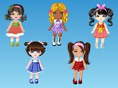 picture of doll  - Cartoon doll girls dress up with nice hairstyles - JPG