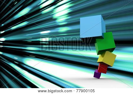 Pile of 3d colourful cubes against abstract turquoise glowing background