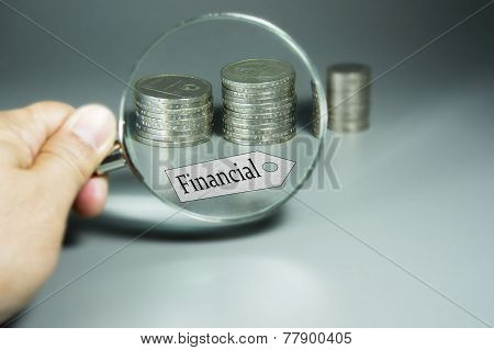 Magnifier, Financial Tag, And Stack Of Coins In The Backdround