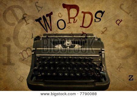 WORDS & Vintage Typewriter