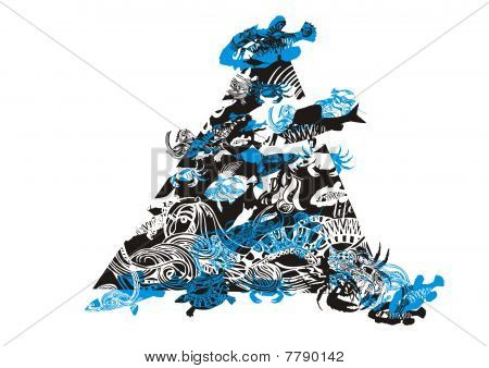Composition of fish, crabs, turtles