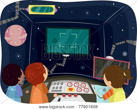 Illustration of Kids Inside the Control Room of a Spaceship