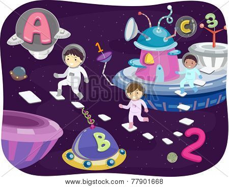 Illustration of Kids Walking Around the Outer Space