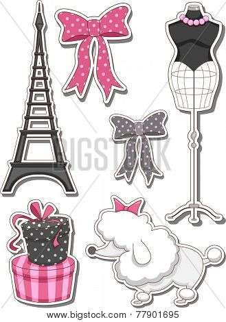 Illustration of Different Items Commonly Associated With Paris