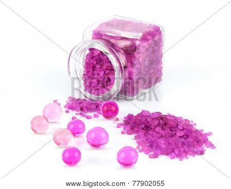 Purple Sea Salt In Glass Bottle