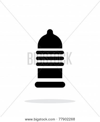 Ribbed condom icon on white background.