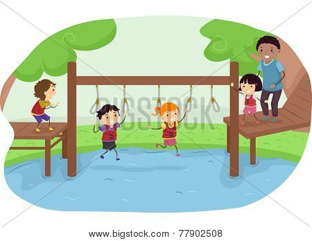 Illustration of Kids Competing in an Obstacle Race in a Park