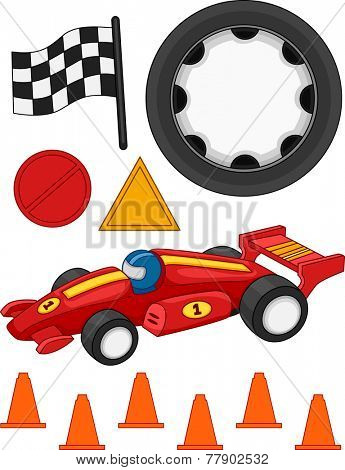 Illustration of Different Items Commonly Associated With Car Racing