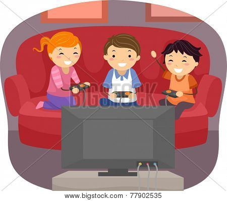 Illustration of Kids Playing Video Games in the Living Room