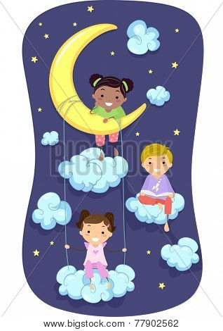 Illustration of Kids in Pajamas Surrounded by Clouds and Stars