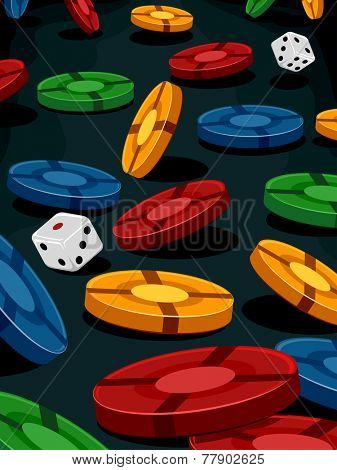 Illustration of a Pair of Dice Surrounded by Poker Chips