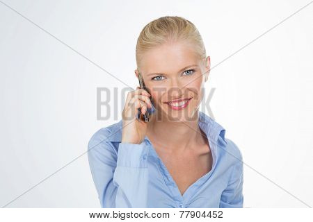 Smiley Woman On White Background