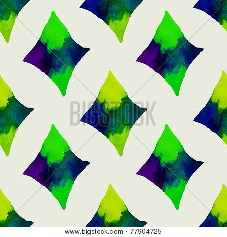 Seamless vector geometric watercolor pattern on paper texture. H