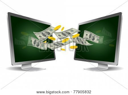 Two monitors. Money transfer concept. Vector illustration.