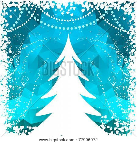 abstract christmas tree with blue background
