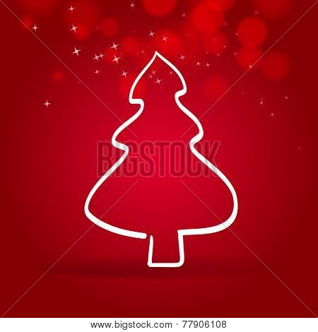 one line christmas tree on red background