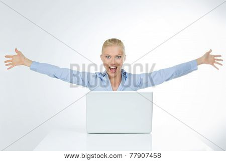 Astonished Woman Extends Her Arms