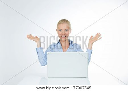 Smiley Woman Lifts Up Her Hands